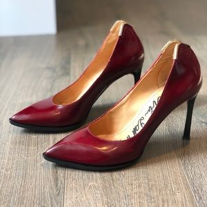 Red Lanvin Structural Pumps